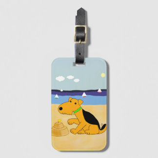 Bande dessinée Airedale Terrier à l'étiquette de Étiquette Pour Bagages