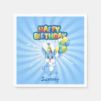 Bande dessinée bleue d'anniversaire de lapin serviettes jetables