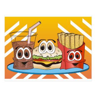 Bande dessinée d'aliments de préparation rapide carte postale