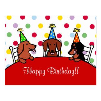Bande dessinée d'anniversaire de teckel carte postale