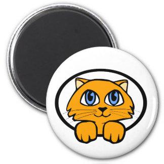 Bande dessinée de chaton de bébé magnet rond 8 cm