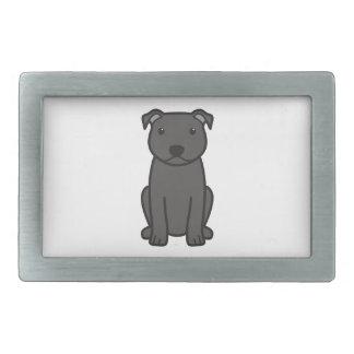 Bande dessinée de chien de bull-terrier du Staffor Boucle De Ceinture Rectangulaire