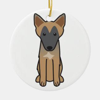 Bande dessinée de chien de Malinois de Belge Ornement Rond En Céramique