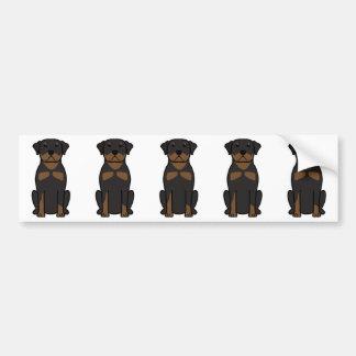 Bande dessinée de chien de rottweiler autocollants pour voiture