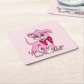 Bande dessinée de chiot de rose de nez de coeur dessous-de-verre carré en papier