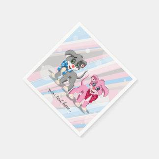 Bande dessinée de chiots de nez de coeur serviettes en papier