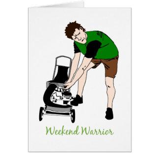 Bande dessinée de fauchage de pelouse drôle de carte de vœux