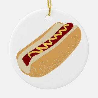 Bande dessinée de hot dog ornement rond en céramique