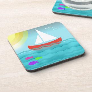 Bande dessinée de mer d'été de bateau à voile dessous-de-verre