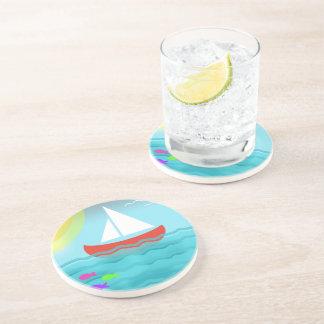 Bande dessinée de mer d'été de bateau à voile dessous de verres
