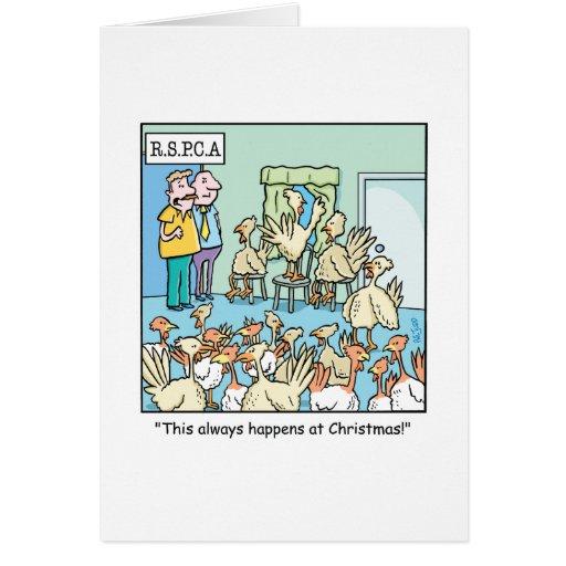 Bande dessinée de Noël au sujet des dindes Carte De Vœux