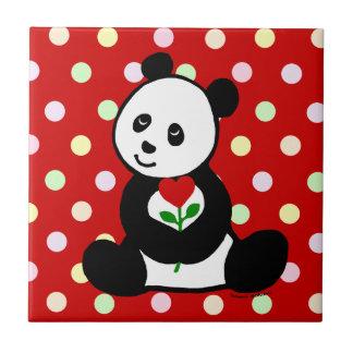 Bande dessinée de panda et une fleur de coeur petit carreau carré