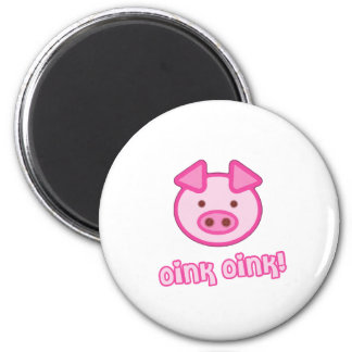 Bande dessinée de porc de bébé magnet rond 8 cm