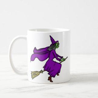 Bande dessinée de sorcière de Halloween Mug Blanc
