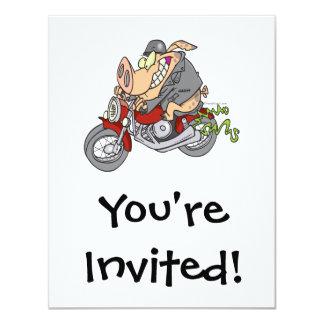 bande dessinée de vélo de moto de porc de porc de carton d'invitation 10,79 cm x 13,97 cm