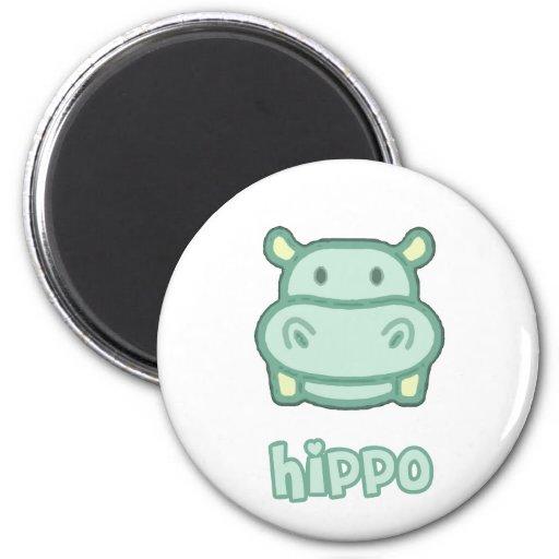 Bande dessinée d'hippopotame de bébé aimants pour réfrigérateur