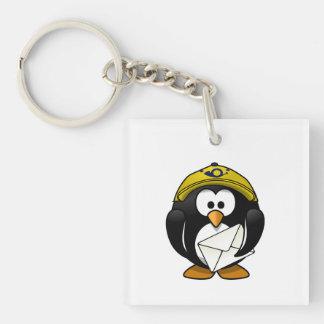 Bande dessinée d'oiseau de pingouin de facteur porteclés