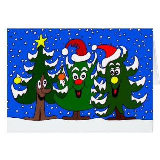Bande dessinée drôle d'arbres de Noël Cartes