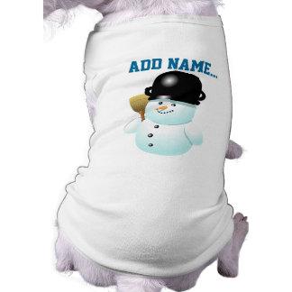 Bande dessinée drôle de bonhomme de neige avec t-shirt pour chien