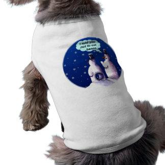 Bande dessinée drôle de bonhommes de neige t-shirt pour chien