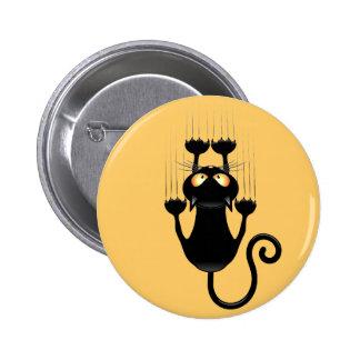 Bande dessinée drôle de chat noir rayant le bouton badge rond 5 cm