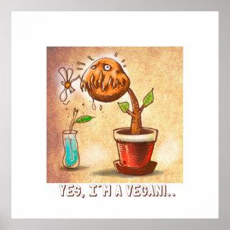 bande dessinée drôle de plante végétarien posters