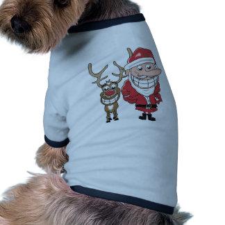 Bande dessinée drôle Père Noël et Rudolph T-shirt Ringer Pour Chien