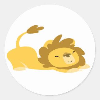 Bande dessinée étirant l'autocollant de lion sticker rond