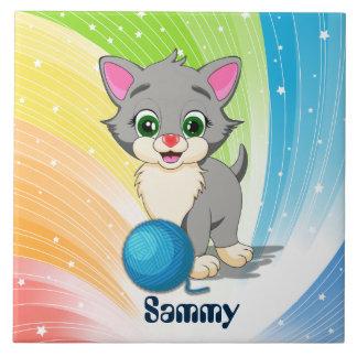 Bande dessinée grise de chaton de Cutie Grand Carreau Carré