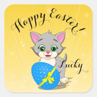 Bande dessinée grise de chaton de Pâques Cutie Sticker Carré