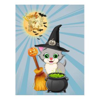 Bande dessinée grise de Halloween de chaton Carte Postale