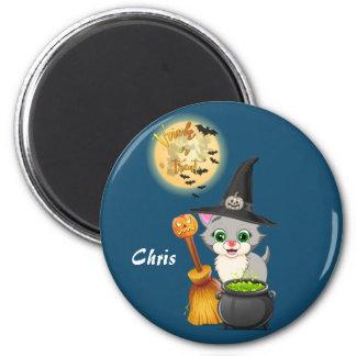 Bande dessinée grise de Halloween de chaton Magnet Rond 8 Cm