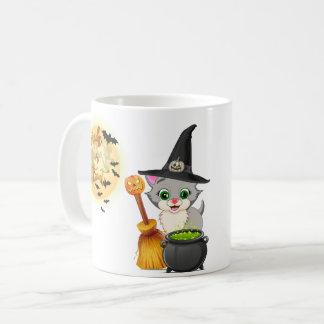 Bande dessinée grise de Halloween de chaton Mug
