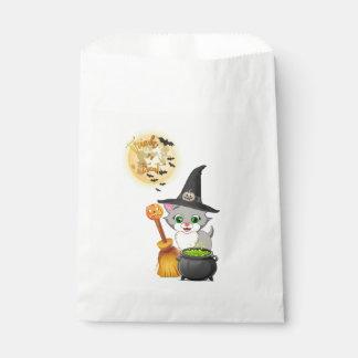 Bande dessinée grise de Halloween de chaton Sachets En Papier