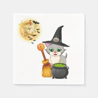 Bande dessinée grise de Halloween de chaton Serviettes Jetables