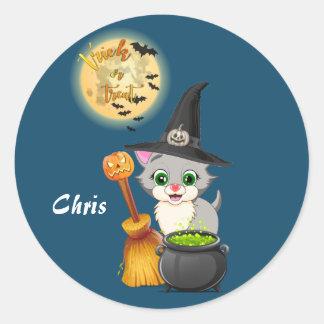 Bande dessinée grise de Halloween de chaton Sticker Rond