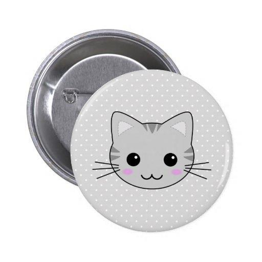 Bande dessinée grise mignonne de chat tigré de Kaw Pin's