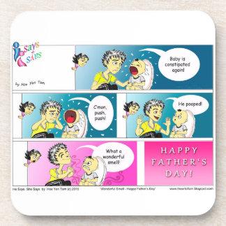Bande dessinée heureuse de fête des pères dessous-de-verre
