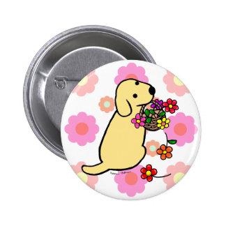 Bande dessinée jaune de panier de fleur de chiot d badges