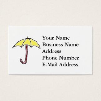 Bande dessinée jaune de parapluie cartes de visite