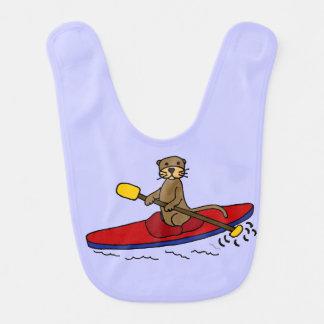 Bande dessinée Kayaking de loutre drôle Bavoir