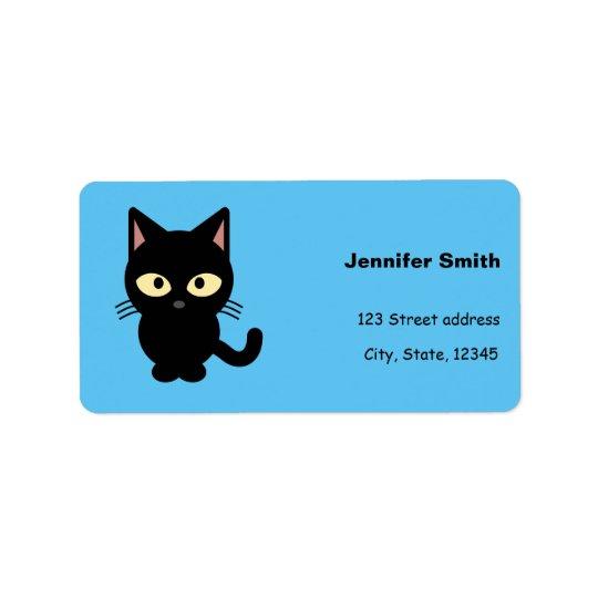 Bande dessinée mignonne de chat noir étiquette d'adresse