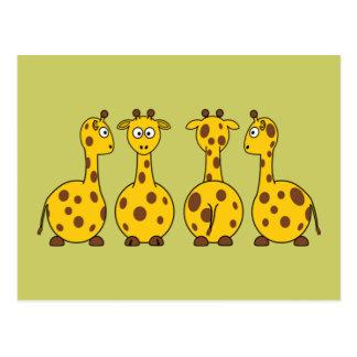 Bande dessinée mignonne de girafe carte postale