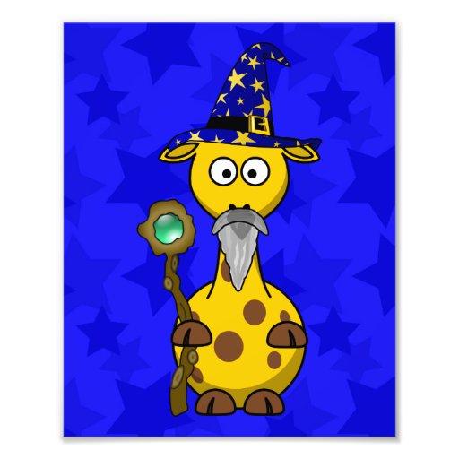Bande dessinée mignonne de girafe de magicien tirage photo