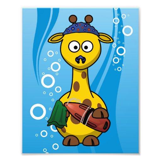 Bande dessinée mignonne de girafe de nageur photos