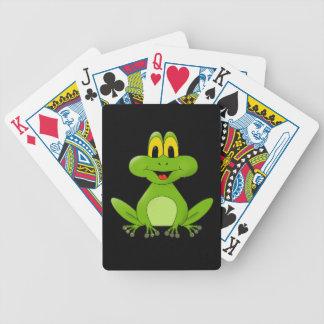 Bande dessinée mignonne de grenouille verte jeu de cartes