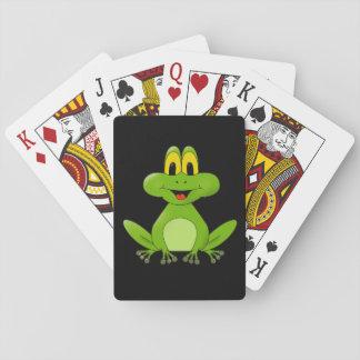 Bande dessinée mignonne de grenouille verte jeux de cartes