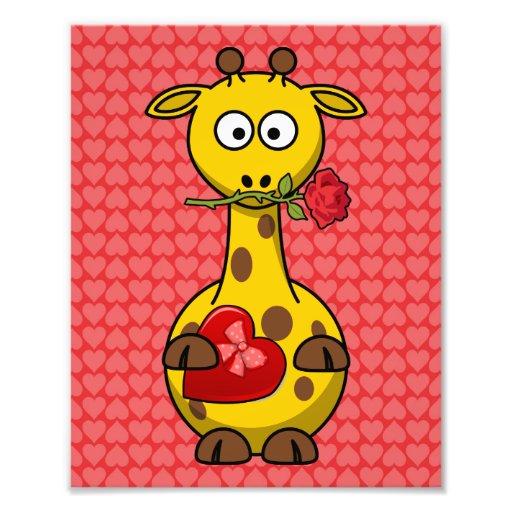 Bande dessinée mignonne de la girafe de Valentine Photographie D'art