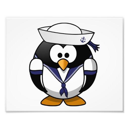 Bande dessinée mignonne de pingouin de marin photo d'art