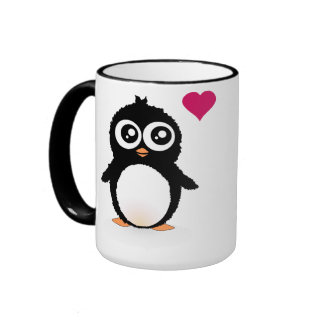 Bande dessinée mignonne de pingouin tasse à café